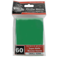Monster Protectors Small Size Premium Quality Monster Sleeves Super Matte Green (60 ct)