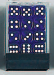 Deluxe Standard Transparent Dice White Pips D6 36 x 12mm BLUE