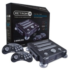 SNES/ NES/ Genesis RetroN 3 Gaming Console (Charcoal Gray) - Hyperkin Bundle w/ 2 Wireless Controllers & $20 Gift Card