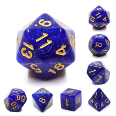 Blue Galaxy Dizzy HD Polyhedral 7 Dice Set