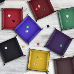 Folding Square Dice Tray - 7in - Black/Purple