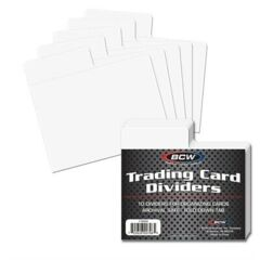BCW Horizontal White Plastic Trading Card Dividers with Fold Down Tab