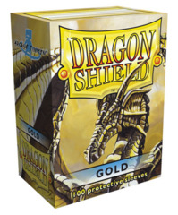 Dragon Shield Gold Protective Standard Size Card Sleeves in Deck Box (100 ct)