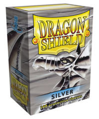 Dragon Shield Silver Protective Standard Size Card Sleeves in Deck Box (100 ct)