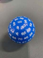 50MM - D100 HECTOHEDRON One-Hundred-Sided Die - Blue Die w/ White Numbers