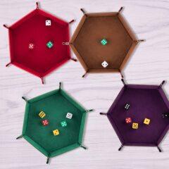 Folding Hexagon Dice Tray -  Coffee