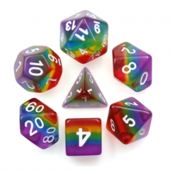 Dizzy HD Layered Polyhedral 7 Dice Set: Transparent Rainbow