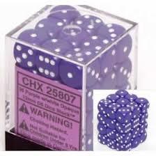 36 purple w/white Opaque 12mm D6 Dice Block