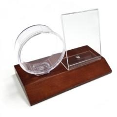 Acrylic Puck Holder and Card Display - Wood