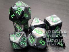 Gemini Black-Grey w/Green - 7 Piece Dice Set - CHX26445