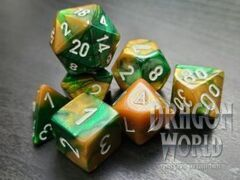 Gemini Gold-Green/White - 7 Piece Set of Dice - CHX26425