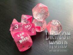 Gemini Clear-Pink/White - 8 Piece Dice Set - CHX30042