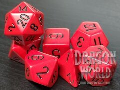 Opaque - Red/Black - 7 Piece Dice Set - CHX25414