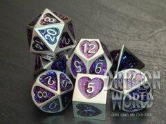 Purple Heart Glitter - 7 Piece Metal Dice Set - 3100
