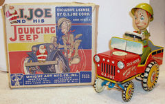 G. I. Joe and his Jouncing Jeep w/Box © 1940's Unique Arts