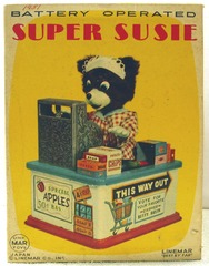 Super Susie, Betty Bruin, The Cashier Bear w/ Box © 1950s Linemar Toys