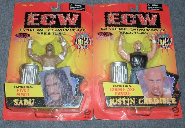 Ecw Sabu Justin Credible Action Figure Lot 1999 Toymakers Inc