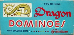Dragon Dominoes, Double Nines w/ Colored Dots ©  1950s Halsam  920C