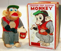 Cragstan Crap Shooting Monkey w/ Box © 1950s Alps 72568