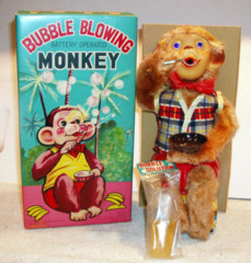 Bubble Blowing Monkey w/ Box © 1950s Alps