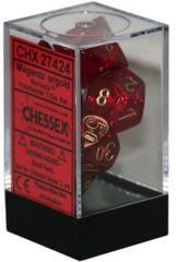 Magenta w/Gold Borealis Polyhedral 7-Die Set CHX27424