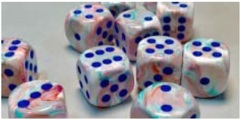36 12mm Festive Pop Art w/Blue D6 Dice - CHX27944