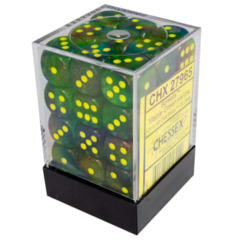 36 12mm Borealis Maple Green/Yellow D6 Dice - CHX27965
