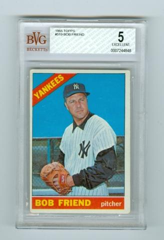 1966 Topps 519 Bob Friend Bvg 5 Baseball Singles