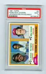 1981 Topps #2 Home Run Leaders- Reggie Jackson/Ben Oglivie/Mike Schmidt PSA 9