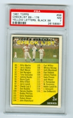 1961 Topps #98 Checklist 2 (Yellow Letters, Black 98) PSA 7