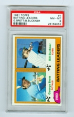 1981 Topps #1 Batting Leaders- George Brett/Bill Buckner PSA 8
