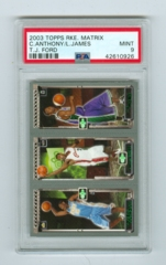 2003-04 Topps Rookie Matrix #AJF Carmelo Anthony /LeBron James /T.J. Ford (Rookie) PSA 9