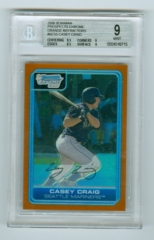 2006 Bowman Chrome Prospects Orange Refractors #BC55 Casey Craig #25/25 BGS 9
