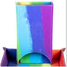 Fold Up Velvet Dice Tower: Watercolor Rainbow