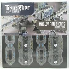TinkerTurf Sci-Fi Terrain: MagLev Rail & Car - Neutral