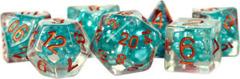 MTD690: 7-Die Set 16mm Resin Pearl: Teal w/ Copper Numbers