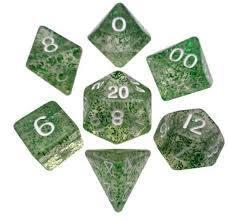 Mini Dice 7 Set: Ethereal Green/White (MET4205)