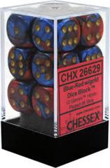 CHX26629: 16mm d6 Gemini: Blue-Red/Gold