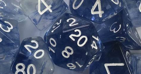 Set of 7 Dice - Diffusion Blue Ink/White