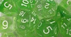 Set of 7 Dice - Diffusion Slime Green/White