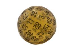 100 Sided Polyhedral Dice D100 - Translucent Amber With Black