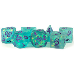 Metallic Dice: 16mm Resin Poly Dice Set - Icy Opal - Teal