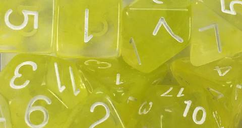 Set of 15 Dice - Diffusion Ochre Jelly/White