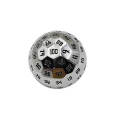 Metal 100 Sided Polyhedral Dice D100 - Chrome With Black