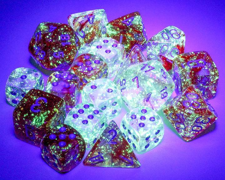 Chessex Polyhedral Dice Set: Nebula Luminary - Red w/Silver (7)