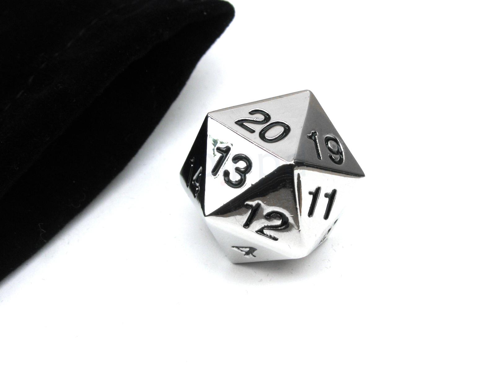 Koplow: Metal Countdown D20 - Silver with Black Ink