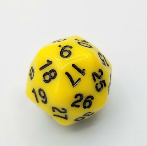 30-Sided Opaque Dice (d30) - Yellow