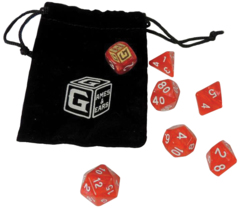 Games And Gears RPG Heroic Red Dice Set (7) With Bag