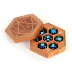 Premium Wood Hexagon Dice Case: Cherry