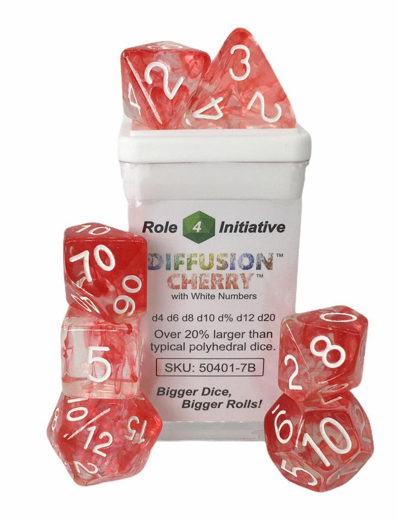 Set of 7 Dice - Diffusion Cherry/White